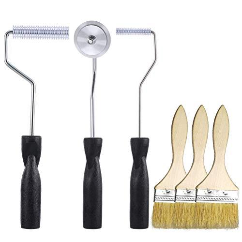 (Fiberglass Roller Tools Kit,Cooyeah 3Pcs Aluminum Alloy Fiberglass Bubble Paddle Tool Laminating Roller Set with Bristle Brush for FRP Mole Resin Composite)