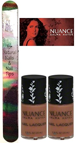 Nuance Salma Hayek Nail Lacquer DESERT MIST #360 (15 ML/0.5 FL. OZ.) EACH BOTTLE (PACK OF 2) PLUS A (Free Nail File From fetish for Natural Nails And Nail Tips) - Mist Nail Lacquer