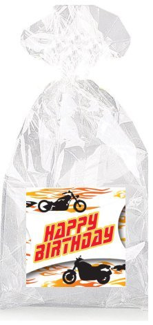 Motorcycle Hot Rod Happy Birthday Party Favor Bags with Ties - 12pack -