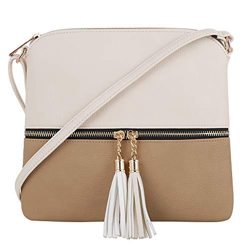 SG SUGU Lightweight Medium Crossbody Bag with Tassel and Zipper Pocket (Beige/Taupe)