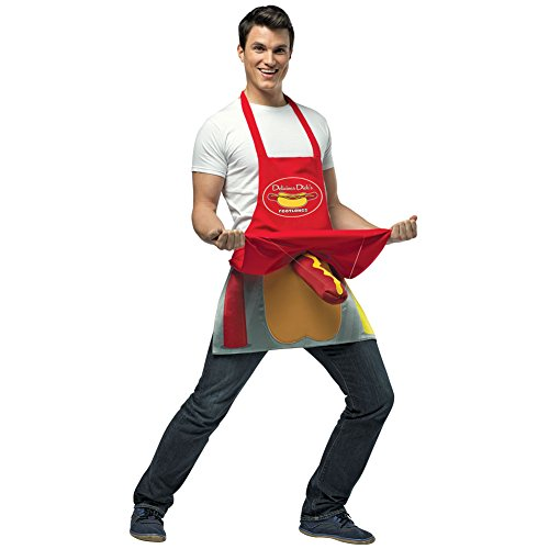 Hot Dog Vendor Costume Mens Foot-Long Wiener Adult Novelty Halloween (Hot Dog Vendors)