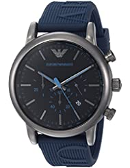 Emporio Armani Mens Luigi Quartz Stainless Steel and Silicone Casual Watch, Color:Blue (Model: AR11023)
