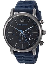Emporio Armani Men's 'Luigi' Quartz Stainless Steel and Silicone Casual Watch, Color:Blue (Model: AR11023)