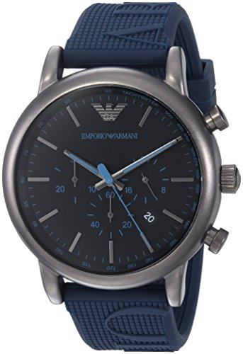 Emporio Armani Men's 'Luigi' Quartz Stainless Steel and Silicone Casual Watch, Color:Blue (Model: AR11023) Emporio Armani Model