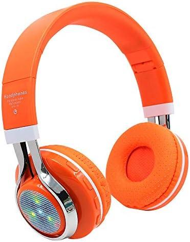 Han Shi Wireless Bluetooth Headphones Foldable Lightweight Over Ear Headsets with Microphone, Soft Earpads Deep Bass Stereo Earphone for Sport, Work, Travel #BAO0120-012(Orange)