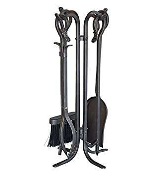 5 Piece Hand Forged Iron Compact Fireplace Tool Set Poker Tongs Shovel Broom and Stand Shepherd's Hook Style Wood Stove Firepit Accessories Natural Black Finish 10.25 sq. x 20 H Plow & Hearth
