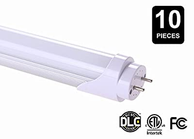 T8 LED Light Tube, 2 Feet, 8 Watt (20 Watt Equivalent), G-13 Base, 4100k Neutral White, Single Ended Power - 10 Pack