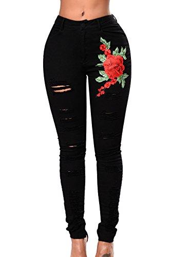 Broderie Denim Extensible Floral Skinny Trou En A Les Femmes Jeans Black En EqxwR1