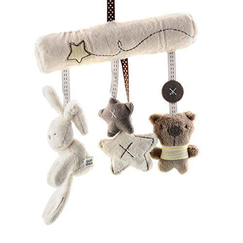Newborn Baby Soft Pram Bed Bells White Plush Rabbit Toy with Music Bed Hanging
