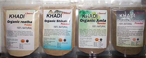 Khadi Amla Reetha Shikakai Bhringraj Powder ( 100 gms x 4 ()