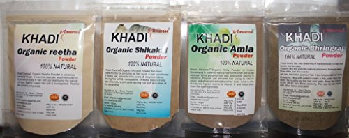 Khadi Amla Reetha Shikakai Bhringraj Powder ( 100 gms x 4 ) (Powder Shikakai Amla)
