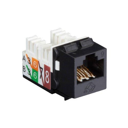 (Black Box GigaTrue2 CAT6 Jacks, Universal Wiring, Component Level, 25-Pack, Black)