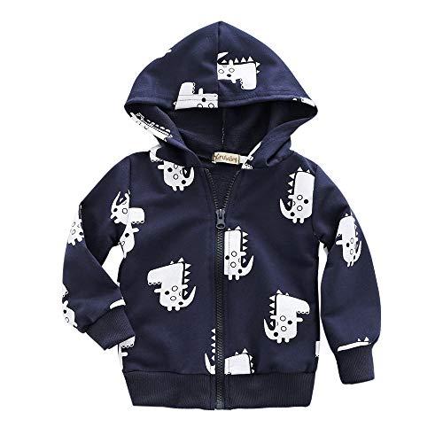 Dinlong Toddler Baby Boy Girl Coat Waterproof Jacket Outwear Autumn Winter Children Hoodie Windbreaker Clothes Cartoon Dinosaur Long Sleeve Hooded Zipper Raincoat Tops Outfits (Navy, 6-12 -