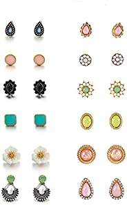 Royal Amoyy 12 Pairs Ear Studs Set, Bohemian Stud Earrings for Women and Girls, Hypoallergenic Assorted Vintag