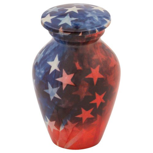 Silverlight Urns Stars & Stripes Keepsake Urn, Mini Urn for Veteran or Military, 2.75 Inches Tall ()