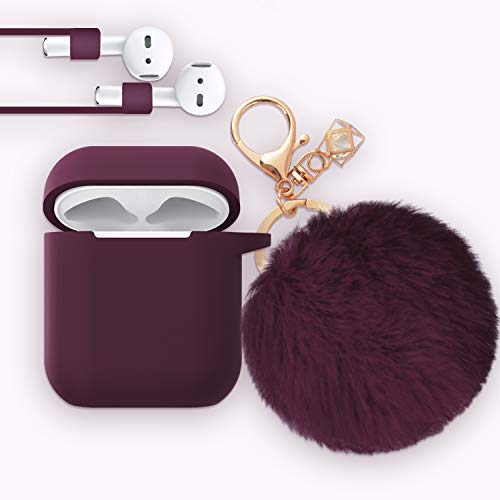 Airpods Case - Bluewind Drop Proof Air Pods Protective Case Cover Silicone Skin, with Cute Fur Ball Airpods Keychain/Strap, Portable Apple Airpods Accessories (Upgrade Burgundy) (Burberry Key Case)