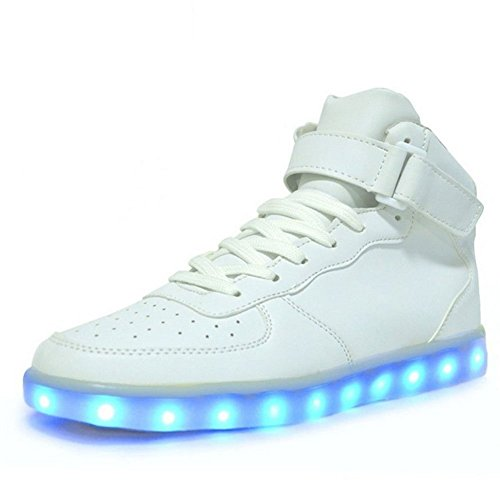 Matari Lovers Unisex USB Charging LED High Top Lights Up Shoes Flashing Sneaker White bqUUrXVMOe