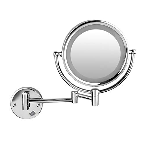 Ryohin 8 Inch LED Wall Mounted Makeup Mirror, 1×/3× Magnification Light Makeup Mirror, Chrome