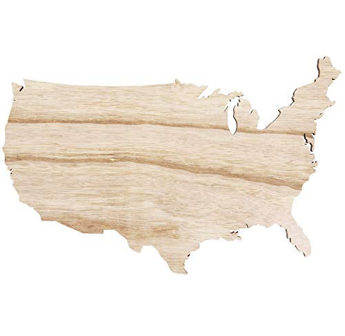 (Genie Crafts 2-Pack Unfinished USA Wood Map Cutout Shape for Crafts and Decor, 15 x 9 Inches)