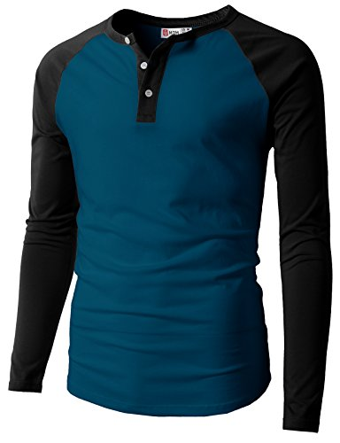 Fit Raglan Baseball Long Sleeve Sleeve Henley T-Shirts Peacock US 2XL/Asia 3XL (CMTTL077_CMTTL077) ()