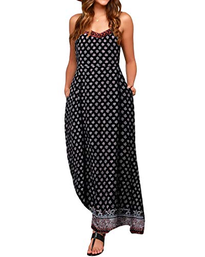 ZANZEA Ladies Strapless Sleeveless Vest Lace Crochet Beach Maxi Long Dress Black1 6-8