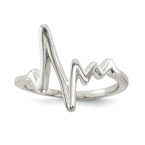 925 Sterling Silver Heartbeat Band Ring Size 8.00 Fine Jewelry Gifts For Women For Her