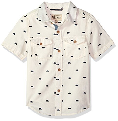 Lucky Brand Boys' Toddler Short Sleeve Button Down Shirt, Marshmallow Heather, 4T by Lucky Brand