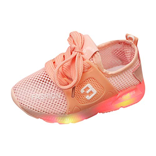 China Garden Block Rose (SUNyongsh Toddler's Casual Shoes Infant Kids Flats Baby Girls Mesh Breathable Sneakers LED Luminous Sport Shoes Pink)