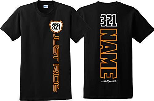 (JUST RIDE Motocross Number Plate Shirt MX Moto Personalized (Medium, NEON Orange))