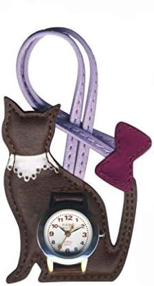 EP306 バックに付けるアクセサリー時計 ハングウォッチ ネコ (ダークブラウン)