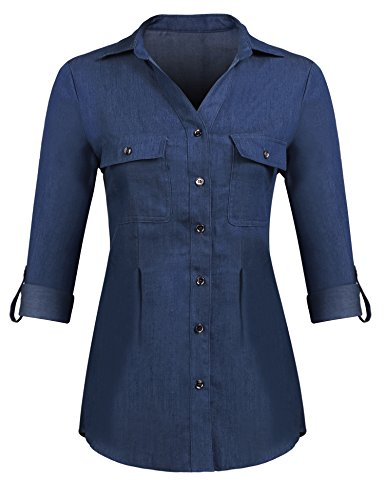 Pinspark Women Boyfriend Long Sleeve Jean Shirts Button Down Denim Tops (Dark Blue, XXL)