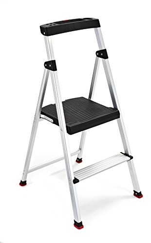 (Rubbermaid RMA-2 2-Step Lightweight Aluminum Step Stool with Project Top, 225-pound Capacity)