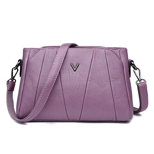 Handbag color Hombro Tamaño Púrpura Cuero La Las Bolso Soft Elegante De Un Gris Tamaño Manera Eeayyygch Mujeres Bag Ladies Messenger wx6OgSq