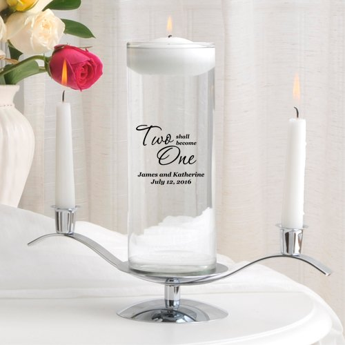 Personalized Floating Wedding Unity Candle - Personalized Wedding Candle - Includes Stand - Two Shall Become One (Candle Unity Two Become One)