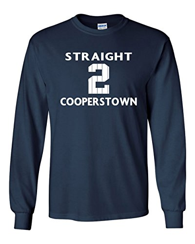 """The Silo LONG SLEEVE NAVY New York Derek Jeter """"Straight To Cooperstown"""" T-Shirt ADULT"""