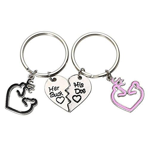 SuBoZhuLiuJ 2 Pcs Romantic Couple Keychain with Her Buck His Doe Key Ring Deer Heart Shape for Women Men Bag Decor - Black Pink
