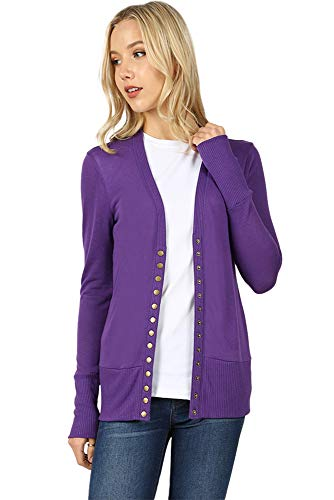 Cardigans for Women Long Sleeve Knit Press-Stud Button Sweater Regular & Plus - Purple (Size S) (Knit Boots Button)