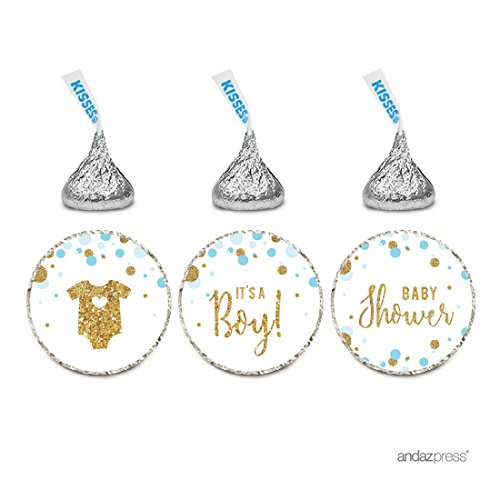Andaz Press Light Blue Gold Glitter Boy Baby Shower Party Collection, Chocolate Drop Label Stickers Trio, 216-Pack, Fits Hershey's Kisses Party Favors