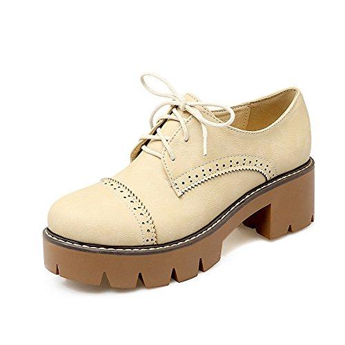 AllhqFashion Damen Blend-Materialien Rund Zehe Mittler Absatz Niedrig-Spitze Stiefel, Cremefarben, 35