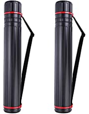 """2-Pack XX-Large Extendable Poster Tubes Expand from 30.5"""" to 50"""" with Shoulder Strap   Carry Documents, Blueprints, Drawings and Art   Black Portable Durable Round Storage Cases"""