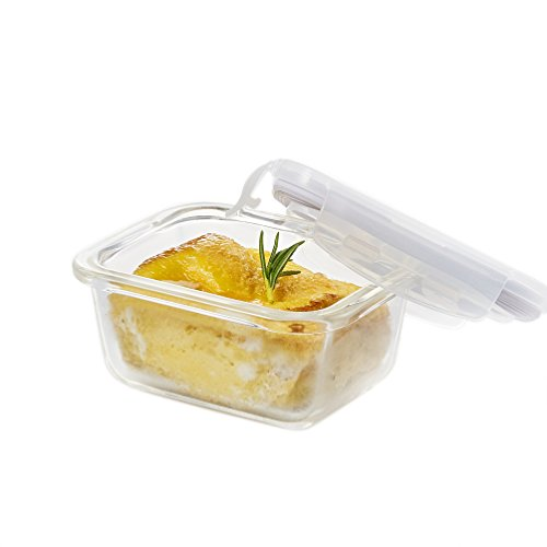 Cup Rectangular Lock & Lock (LOCK & LOCK GLASS, 0.7 Cup, Borosilicate Glass, Oven Safe, BPA Free, 100% Airtight, Glass Rectangular Food Storage Container with Lid)
