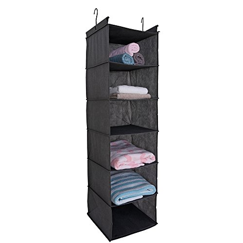 MAX Houser 6 Tier Shelf Hanging Closet Organizer, Cloth Hanging Shelf with 2 Sturdy Hooks, for Storage, Foldable, Grey