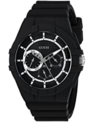 GUESS Mens Silicone Casual Watch, Color: Black (Model: U0942L2)