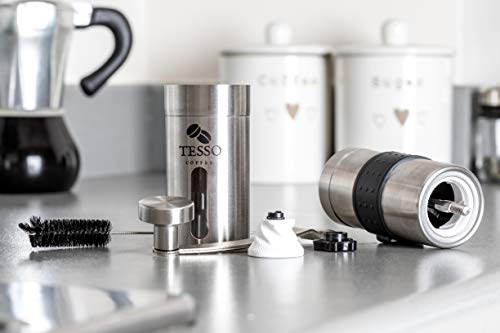 Stainless Steel Manual Coffee Grinder with Coffee Recipes E-Book - Coffee Bean Hand Grinder with Brush and Silicone Grip - Adjustable Burr for Precision Brewing - Lightweight and Portable, Perfect in Your Kitchen or Outdoor