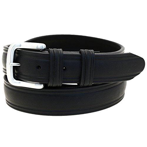 Men's 1 1/4 Domed Belt Black Latigo Leather Brushed Nickel Buckle Size (Brushed Nickel Buckle)