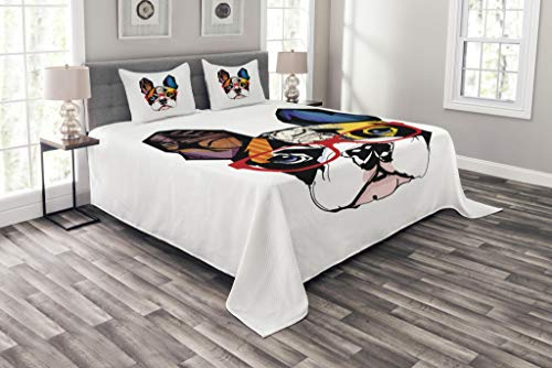 (Lunarable Art Bedspread Set Queen Size, French Bulldog Portrait with Hipster Glasses Abstract Modern Colorful Ears and Eyes, Decorative Quilted 3 Piece Coverlet Set with 2 Pillow Shams, Yellow Ruby)