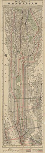 Historic Pictoric Map | Manhattan & New York City 1891 | Vintage Poster Art Reproduction | 24in x 7in ()