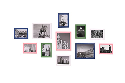 WOOD MEETS COLOR Wall Photo Frames, Including White Picture Mats and Installation Instruction, SET of 11 Collage Frames (Blue & Pink & White & Green)