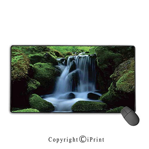 Extended Mousepad with Durable Stitched Edges,Natural Waterfall Decor,Flowing Water from Mountain Stream Moss Covered Stones Picture, Non-Slip Rubber Base,9.8