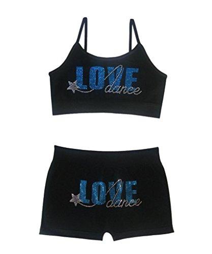 Idea Girl's Dance Cami Bra and Boyshort Set - Love Dance Blue
